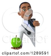 Medical Clipart Of A 3d Young Black Male Doctor Holding A Green Apple Around A Sign Royalty Free Illustration