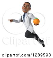 Medical Clipart Of A 3d Young Black Male Doctor Flying Pointing And Holding An Orange Royalty Free Illustration
