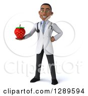 Medical Clipart Of A 3d Young Black Male Doctor Holding A Strawberry Royalty Free Illustration