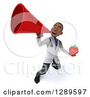 Medical Clipart Of A 3d Young Black Male Doctor Announcing Upwards With A Megaphone And Holding A Strawberry Royalty Free Illustration