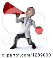Medical Clipart Of A 3d Young Black Male Doctor Facing Left Announcing With A Megaphone And Holding A Tomato Royalty Free Illustration