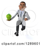 Medical Clipart Of A 3d Young Black Male Doctor Sprinting And Holding A Bell Pepper Royalty Free Illustration