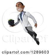 Medical Clipart Of A 3d Young Black Male Doctor Facing Slightly Left Floating And Holding A Blackberry Royalty Free Illustration