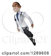 Medical Clipart Of A 3d Young Black Male Doctor Flying Up To The Left Royalty Free Illustration