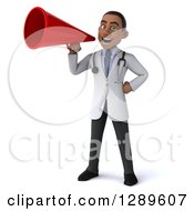 Medical Clipart Of A 3d Young Black Male Doctor Announcing With A Megaphone Royalty Free Illustration