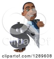 Medical Clipart Of A 3d Young Black Male Doctor Holding A Dollar Currency Symbol Around A Sign Royalty Free Illustration