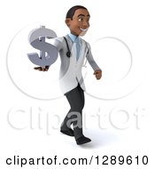 Medical Clipart Of A 3d Young Black Male Doctor Walking To The Right And Holding A Dollar Currency Symbol Royalty Free Illustration