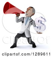 Medical Clipart Of A 3d Young Black Male Doctor Using A Megaphone And Holding A Dollar Currency Symbol Royalty Free Illustration