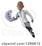 Medical Clipart Of A 3d Young Black Male Doctor Floating And Holding A Euro Currency Symbol Royalty Free Illustration