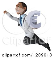 Medical Clipart Of A 3d Young Black Male Doctor Flying Up To The Left And Holding A Euro Currency Symbol Royalty Free Illustration