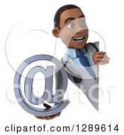 Medical Clipart Of A 3d Young Black Male Doctor Holding An Email Arobase At Symbol Around A Sign Royalty Free Illustration