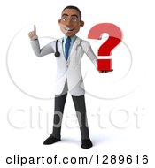 Medical Clipart Of A 3d Young Black Male Doctor Holding Up A Finger And A Question Mark Royalty Free Illustration