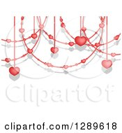 Clipart Of A Background Of Valentine Heart Garlands And Shadows On White Royalty Free Vector Illustration by vectorace