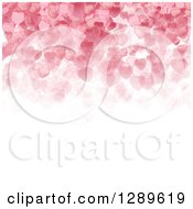 Clipart Of A Background Of Pink Valentine Hearts Over White Text Space Royalty Free Vector Illustration