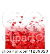 Clipart Of A Background Of Red And Pink Valentine Hearts And Gradient Under White Text Space Royalty Free Vector Illustration