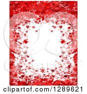 Clipart Of A Horizontal Background Of Red And Pink Valentine Hearts Around White Text Space Royalty Free Vector Illustration