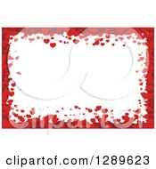 Clipart Of A Horizontal Background Of Red Valentine Hearts Around White Text Space Royalty Free Vector Illustration