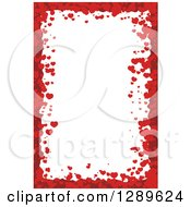 Clipart Of A Vertical Background Of Red Valentine Hearts Around White Text Space Royalty Free Vector Illustration