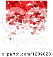 Clipart Of A Background Of Red And Pink Valentine Hearts Over White Text Space Royalty Free Vector Illustration by vectorace