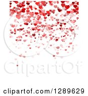 Clipart Of A Background Of Red And Pink Valentine Hearts Over White Text Space 3 Royalty Free Vector Illustration