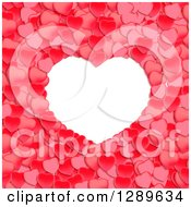 Clipart Of A White Frame With Red Valentine Hearts Royalty Free Vector Illustration