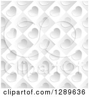 Clipart Of A Background Of Diagonal Silver Valentine Hearts On Gray And White Tiles Royalty Free Vector Illustration by vectorace