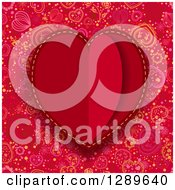 Clipart Of A Background Of A Red Paper Heart Over A Doodled Pattern Royalty Free Vector Illustration