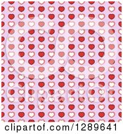 Clipart Of A Seamless Valentines Day Pattern Background Of Red White And Pink Hearts Over Purple Royalty Free Vector Illustration by vectorace