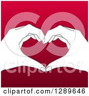 Clipart Of A Black And White Hands Forming A Heart Over Gradient Red Royalty Free Vector Illustration