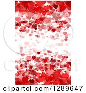 Clipart Of A Background Of Layers Of Red Hearts Over White Royalty Free Vector Illustration
