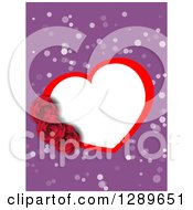 Clipart Of A White And Red Valentine Heart Frame With Roses Over Purple And White Spots Royalty Free Vector Illustration