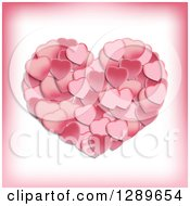 Clipart Of A Big Pink Heart Formed Of Smaller Petal Ones Royalty Free Vector Illustration
