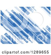 Clipart Of A Background Of Abstract Blue Diagonal Particles On White Royalty Free Vector Illustration by vectorace