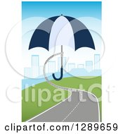 Clipart Of A Roadway Turning Into A Hand Holding An Umbrella Over A City Royalty Free Vector Illustration