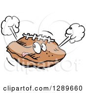 Clipart Of A Deflated Football Sticking Its Tongue Out Royalty Free Vector Illustration by Johnny Sajem