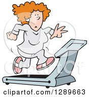 Clipart Of A Red Haired Caucasian Woman Running On A Treadmill Royalty Free Vector Illustration by Johnny Sajem