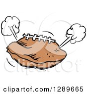 Clipart Of A Deflated Football With Poofs Of Escaping Air Royalty Free Vector Illustration by Johnny Sajem