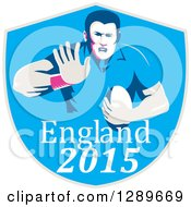 Clipart Of A Retro Fending Rugby Union Player With Ball In A Blue England 2015 Shield Royalty Free Vector Illustration
