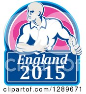 Clipart Of A Retro Rugby Union Player With Ball In A Pink And Blue England 2015 Shield Royalty Free Vector Illustration