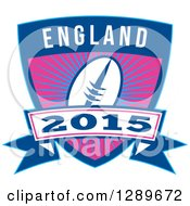 Clipart Of A Retro Rugby Ball Over A Burst In A Blue England 2015 Shield Royalty Free Vector Illustration