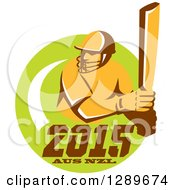 Clipart Of A Retro Cricket Player Batsman In A Green Circle With 2015 Australia New Zealand Text Royalty Free Vector Illustration