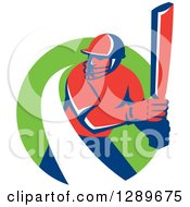 Clipart Of A Red And Blue Retro Cricket Batsman With A White Swoosh In A Green Circle Royalty Free Vector Illustration