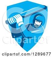 Retro Cricket Player Batsman In A Blue Shield