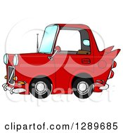 Clipart Of A Compact Red Car With A Vintage Flair Royalty Free Illustration by Dennis Cox