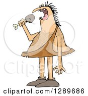 Hairy Caveman Eating A Meat Drumstick