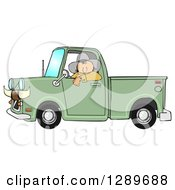 Clipart Of A White Cowboy Looking Out Of The Window Of His Green Pickup Truck With Horns On The Front Royalty Free Illustration by djart