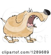 Clipart Of A Tough Brown Spotted Dog Barking Royalty Free Vector Illustration