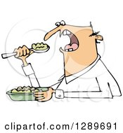 Clipart Of An Unenthused White Man Eating Mush Royalty Free Vector Illustration