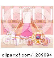 Clipart Of A Horse Drawn Carriage At A Palace Entrance Royalty Free Vector Illustration