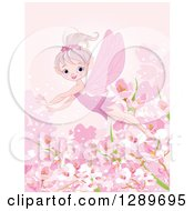Clipart Of A Flying Spring Time Fairy Over Blossoms On Pink Royalty Free Vector Illustration by Pushkin